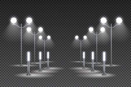 Outdoor garden lighting design with tall lanterns and solar led street lights dark transparent background vector illustration Illustration
