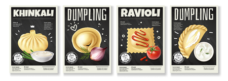 Realistic meat gourmet food banners set of four vertical backgrounds dumplings images with stickers and text vector illustration