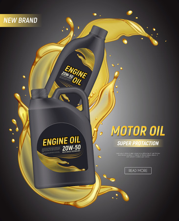 Realistic motor oil poster ads with editable text canister package splashes and drops of engine oil vector illustration