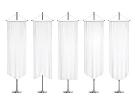 Banderas de banderas de banderines de maquetas largas blancas en blanco que cuelgan en el soporte de poste soporte conjunto realista ilustración vectorial