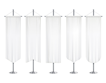 Blank white long mock up pennants flags  banners hanging on pole stand support realistic set vector illustration Vectores