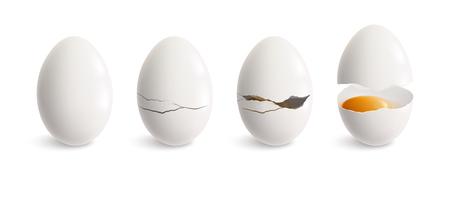 Insieme dell'icona realistica dell'uovo di cracking uovo bianco e quattro passaggi di illustrazione vettoriale scoppiettante crack