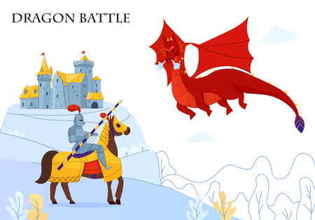 Medieval tale armored rider fighting  flying fire breathing dragon flat colorful composition castle on background vector illustration Illustration