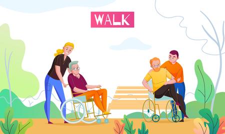 Activités de plein air de la maison de soins infirmiers avec un assistant médical et un bénévole marchant avec des résidents en fauteuil roulant illustration vectorielle plane
