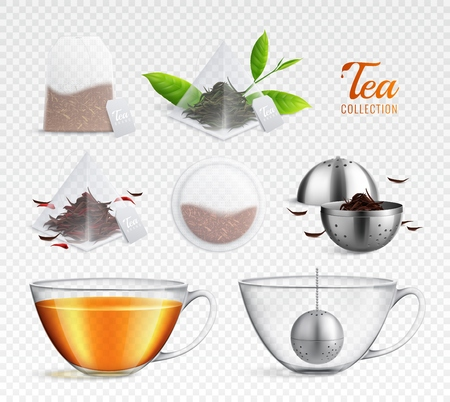 Tea brewing bag realistic transparent icon set with different elements on transparent background vector illustration Ilustrace