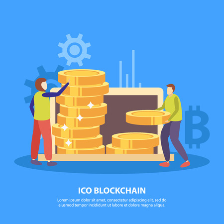 ICO initial coins offering flat symbols blue background poster with fund investors piling bitcoin tokens vector illustration