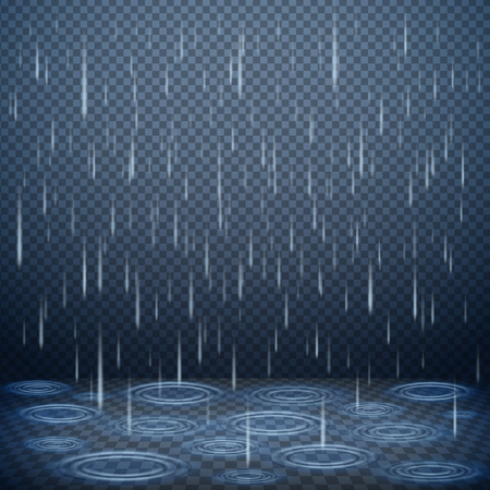 Falling rain drops on dark transparent background realistic vector illustration