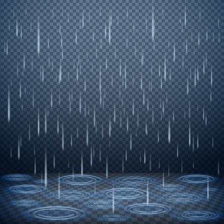Falling rain drops on dark transparent background realistic vector illustration