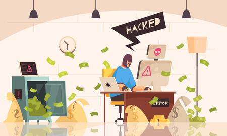 Hacker computers composition with man in mask sits in room and steals information using a computer vector illustration