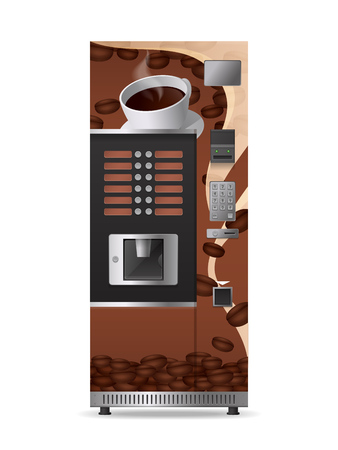 Coffee vending machine realistic icon with electronic control panel and option button isolated on white background vector illustration