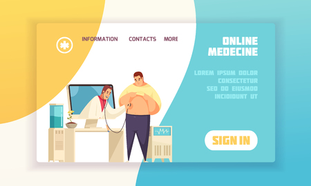 Flat and colored online medicine concept banner or landing page with links and sign in button vector illustration 向量圖像