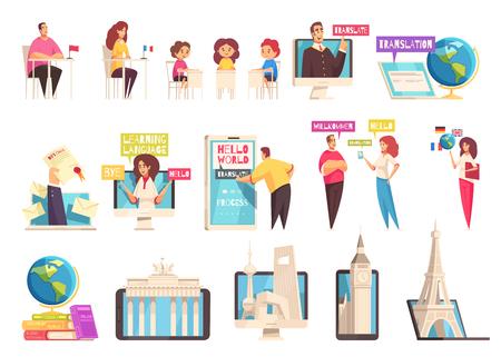 Icône de centre de formation linguistique d'apprentissage plat et isolé sertie de personnes d'âges différents étudient dans les salles de cours illustration vectorielle Vecteurs