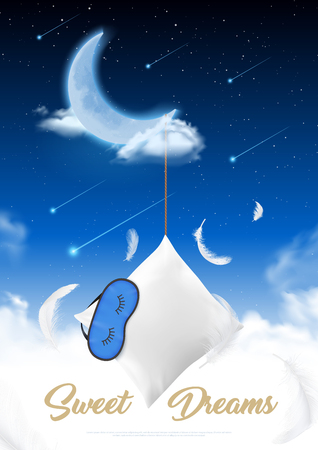 Sleep time in moon night realistic poster with feather pillow and eye patch for sleep at starry sky background vector illustration