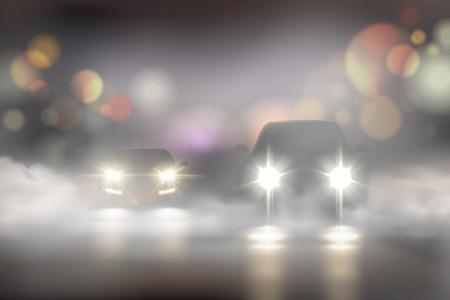 Realistische Autolichter in Nebelzusammensetzung mit zwei Autos auf der Straße und Bokeh-Texturvektor Illustration Vektorgrafik