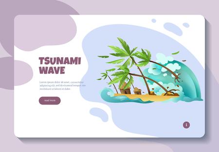 Diseño de página web de banner de concepto de información en línea de desastres naturales con ola de tsunami leer más ilustración de vector de botón