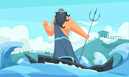 Greece ancient gods flat cartoon strip with poseidon among waves striking sea with his trident vector illustration Illustration