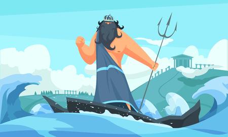 Tira de dibujos animados plana de dioses antiguos de Grecia con Poseidón entre olas golpeando el mar con su ilustración de vector de tridente