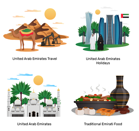 Emiratos Árabes Unidos viaje 4 composiciones planas con comida tradicional, vacaciones, guía turística, monumentos naturales, arquitectura, ilustraciones vectoriales aisladas