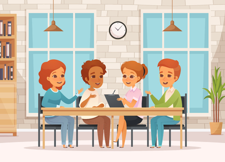 Colored cartoon group therapy composition with teenagers on psychology meetings in classroom vector illustration