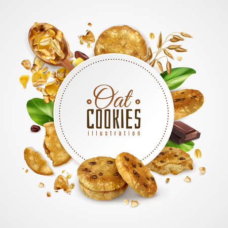 Oat cookies frame illustration decorated green mint leaves and slice of chocolate realistic vector illustration