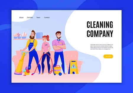 Professional cleaning company service duties offers concept flat home page website banner with personnel vacuuming  vector illustration