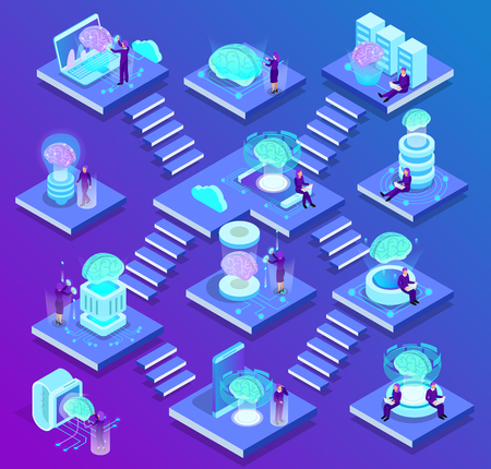 Artificial intelligence isometric composition with set of glow icons described future of science and innovations in digital technologies vector illustration