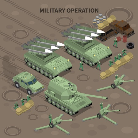 Military operation with use of long range guns and self propelled howitzers isometric background vector illustration