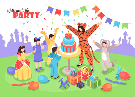 Children in costumes having fun at birthday party with female animator 3d isometric vector illustration