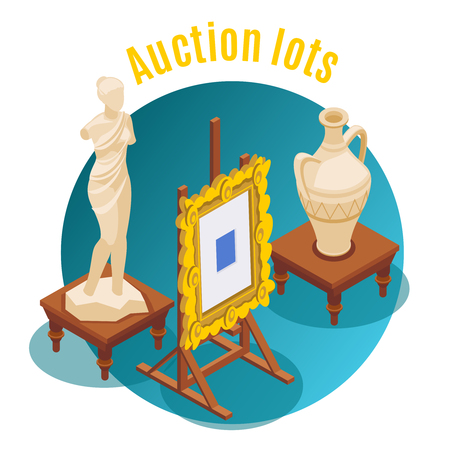 Auction isometric and colored background auction lots headline and round shape emblem vector illustration Illustration