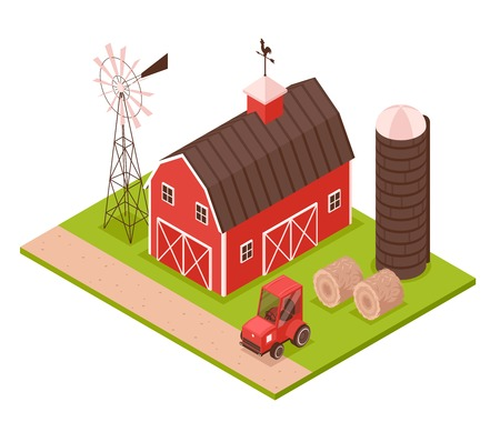 Isometric farm composition with outdoor view of farmsteading house with wind spinner tower and agrimotor images vector illustration