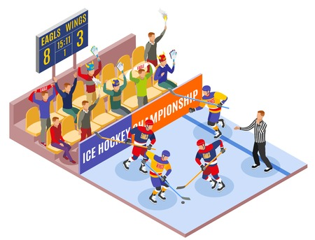 Winter sports isometric composition illustrated ice hockey championship with players on field and spectators in fan zone  vector illustration Illustration
