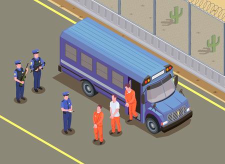 Isometrische Zusammensetzung des Gefangenentransports mit Sicherheitsbeamten, die verurteilte Kriminelle in Uniform beobachten, die von der Vektorillustration des Lieferwagens steigen