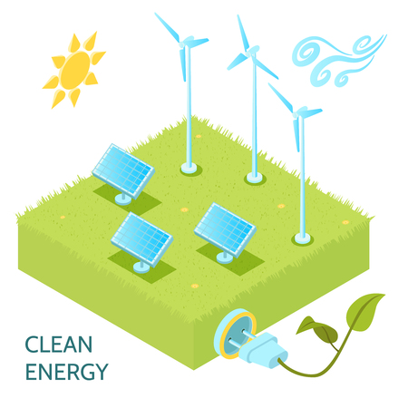 Clean energy isometric concept with solar and wind power symbols isometric vector illustration