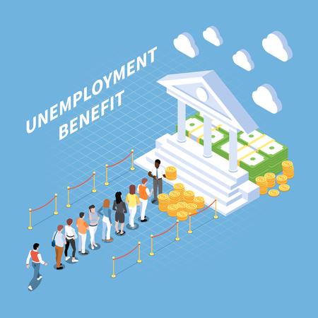 Arbeitslosengeld der sozialen Sicherheit bedingungsloses Einkommen isometrische Zusammensetzung mit Menschen und konzeptionellem Bild der klassischen Fassadenvektorillustration