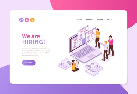 Isometric job search recruitment concept banner website page with laptop application sheets and people with text vector illustration