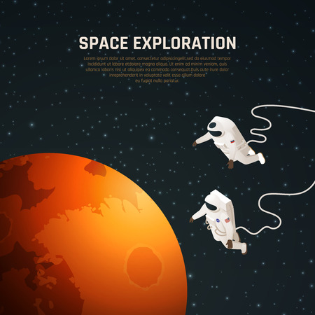 Space exploration background with outer space research symbols isometric vector illustration