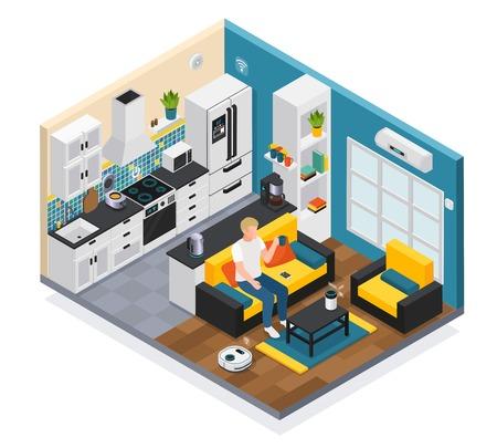 Composición isométrica interior de casa inteligente con internet iot de cosas dispositivos de sala de estar de cocina con control remoto ilustración vectorial