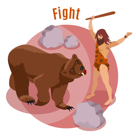 Stone age hunting isometric concept with fight symbols vector illustration Illustration