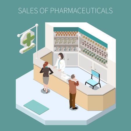 Isolated pharmaceutical production composition with sales of pharmaceuticals headline and pharmacy corner vector illustration