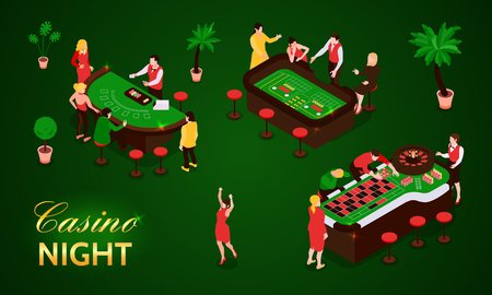 People gambling in casino isometric icons set isolated on green background 3d vector illustration Illustration