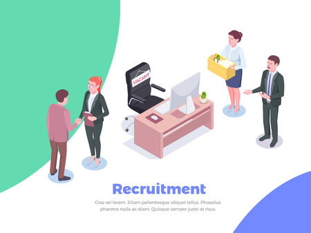 Arrière-plan isométrique de recrutement avec texte modifiable et caractères humains des candidats à l'emploi et des cadres de bureau illustration vectorielle