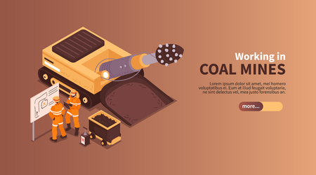 Mine isometric banner composition with slider more button editable text and human characters of coal miners vector illustration Иллюстрация