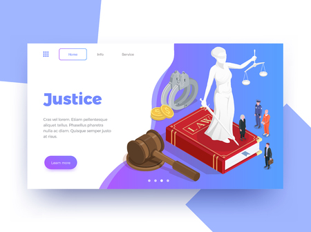 """Law Justice isometrischer Website-Seiten-Design-Hintergrund mit anklickbaren Links für die Schaltfläche """"Weitere Informationen"""" und Textvektorillustrationen"""