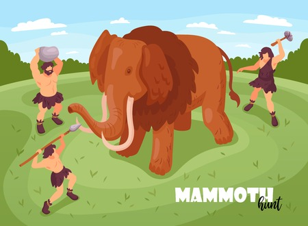 Isometric primitive people caveman hunting background composition with text and images of mammoth and ancient folks vector illustration Banco de Imagens - 120174924