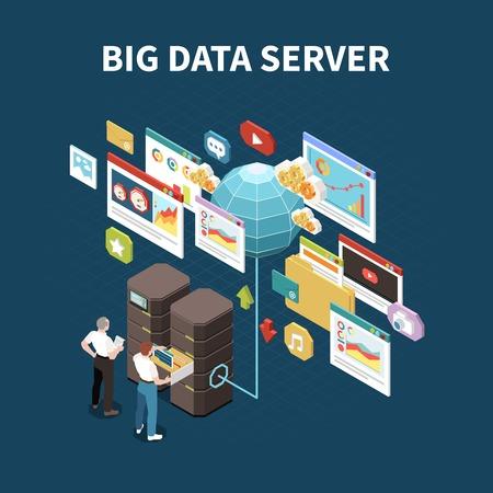 Composition isolée d'analyse de données volumineuses avec titre de serveur de données de fouille et éléments d'illustration vectorielle de stockage en nuage