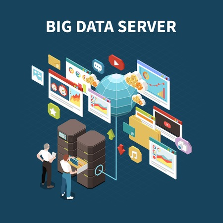 Big data analytics isolated composition with dig data server headline and elements of cloud storage vector illustration