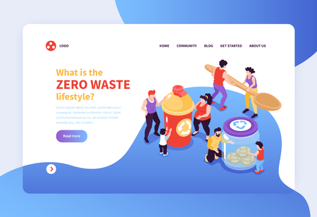 Zero waste lifestyle concept banner with people taking care of environment 3d isometric vector illustration