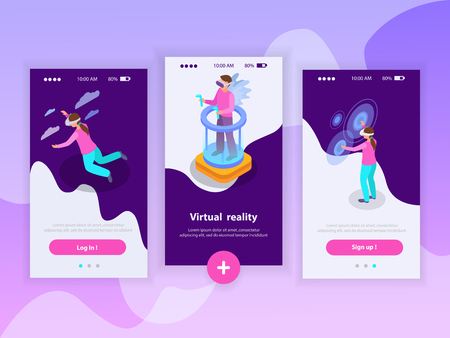 Augmented reality vertical banners set with people using augmented reality glasses isometric isolated vector illustration