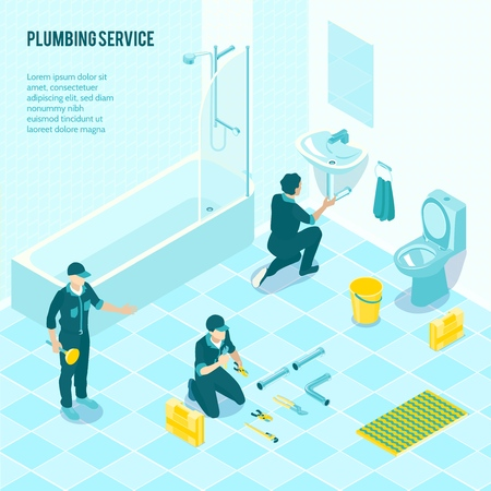 Plumbing service team in uniform installing sanitary in toilet shower bathroom isometric advertising composition poster vector illustration