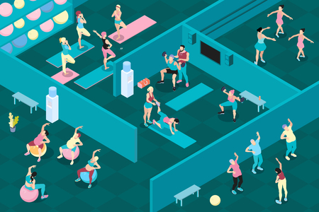 Men and women at different sports classes in gym 3d horizontal isometric vector illustration